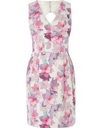 Oasis V Neck Fleur Print Lantern Dress - Lyst