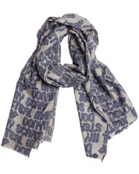 Mir | Dark Navy And Grey Cashmere And Wool Knit 'my Scarf' Scarf | Lyst