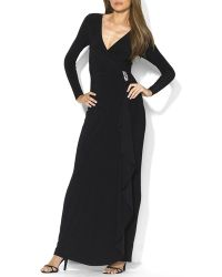 Ralph Lauren Lauren Gown  Matte Jersey Brooch Detail - Lyst