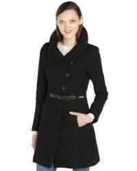 SOIA & KYO - Black Wool Blend Belted 'Autry' Coat - Lyst