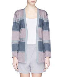 Armani Colourblock Stripe Stretch Knit Cardigan - Lyst