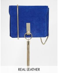 Asos Suede Bag with Chain Tassle - Lyst