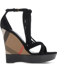 Burberry | Checked-Print Wedge Sandals | Lyst