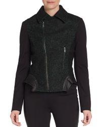 Elie Tahari Leather-trim Tweed Moto Jacket - Lyst