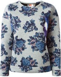 MSGM Floral Print Sweatshirt - Lyst