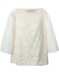 Tory Burch Floral Lace Sheer Striped Top - Lyst