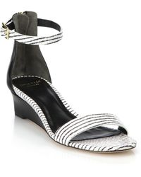 Cole Haan Rossi Striped Snake-Embossed Leather Sandals black - Lyst