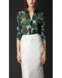 Burberry Floral Print Silk Crépon Shirt - Lyst