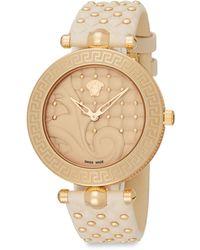 Versace Vanitas Goldtone Stainless Steel Baroque Leather Strap Watch - Lyst