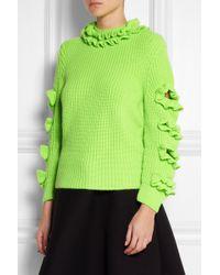 Christopher Kane Cutout Ruffled Neon Cashmere Sweater - Lyst