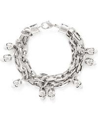 Alexander McQueen Crystal Skull Chain Bracelet - Lyst