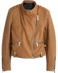 Barbara Bui Quilted Detailed Leather Biker Jacket - Lyst