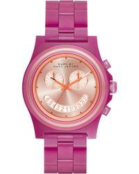 Marc By Marc Jacobs Women'S Chronograph Raver Fuchsia Purple Nylon Bracelet Watch 41Mm Mbm4575 - Lyst