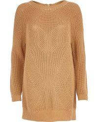River Island Geometric Rib Studded Sweater Dress - Lyst