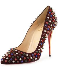 Christian Louboutin Follies Cabo Suede Red Sole Pump - Lyst