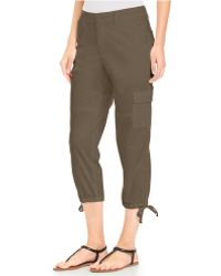 DKNY Cropped Cargo Pants green - Lyst