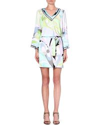 Emilio Pucci Printed Longsleeved Tunic Green - Lyst