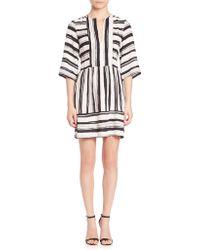 BCBGMAXAZRIA | Annora Striped Crepe De Chine Dress | Lyst