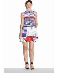 Milly Marina Stripe Sleeveless Shirtdress multicolor - Lyst