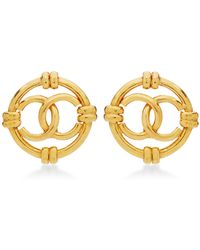 What Goes Around Comes Around Chanel Cc with Rings On Round Earrings - Lyst