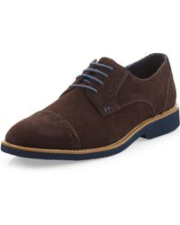 Joseph Abboud - Theo Suede Cap Toe Lace Up Oxford Chocolate Suede - Lyst