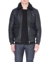Nudie Jeans Leather Bomber Jacket Black - Lyst