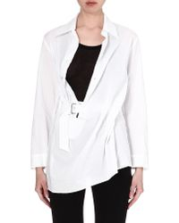 Ann Demeulemeester Asymmetric Cotton Shirt Whiteblack - Lyst