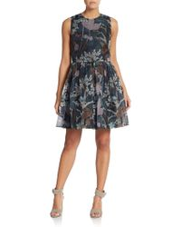 RED Valentino Forest-Print Silk Dress blue - Lyst