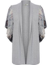 Oasis Kimono Sleeve Woven Cardigan - Lyst