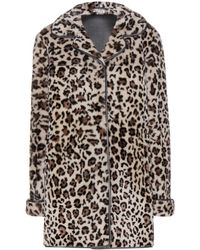Miu Miu Leopardprint Shearling Coat - Lyst