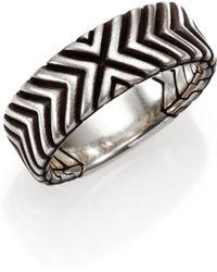 John Hardy Bedeg Sterling Silver Triangle Pattern Band Ring - Lyst