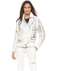 Acne Studios Shredded Leather Motorcyle Jacket White - Lyst