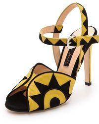 Chrissie Morris Rosa Sandals Yellowblack - Lyst