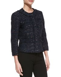 Michael Kors Liquid Tweed Jewelneck Jacket - Lyst