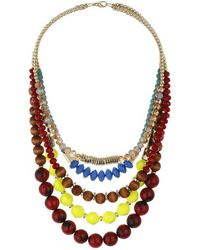 Topshop Beaded Multi-Row Necklace - Lyst