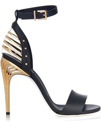 Fendi Caged Leather Sandals - Lyst