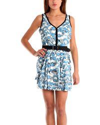 Charlotte Ronson Overlap Pleated Tank Dress W Black Braided Belt - Lyst