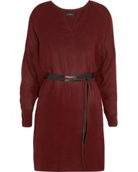 Isabel Marant Roomy Belted Georgette Dress - Lyst