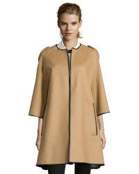 Burberry Camel Wool Blend Three-Quarter Sleeve Cape - Lyst