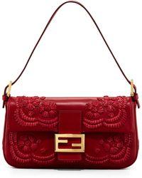 Fendi Embroidered Leather Baguette Shoulder Bag - Lyst