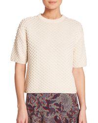 Tory Burch | Popcorn Stitch Short-sleeve Sweater | Lyst