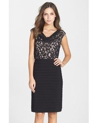 Adrianna Papell Lace & Jersey Sheath Dress - Lyst