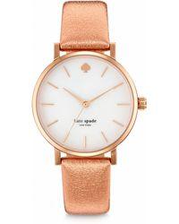 Kate Spade Metro Rose Goldtone Stainless Steel & Metallic Leather Strap Watch pink - Lyst