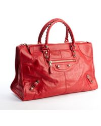 Balenciaga Red Distressed Leather Giant Work Large Top Handle Bag - Lyst