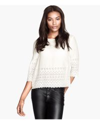 H&M Embroidered Blouse - Lyst