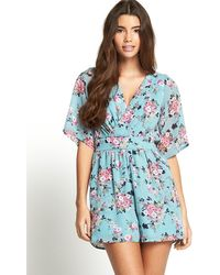 Tfnc Cameo Floral Print Playsuit - Lyst