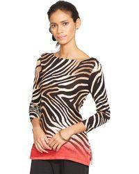 Ralph Lauren Ombré Zebra Boatneck Sweater - Lyst