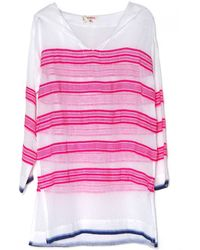 Lemlem Tinish Gauze Hoodie Coverup pink - Lyst