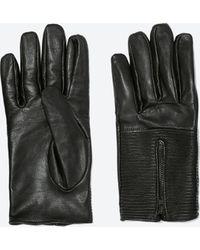 Zara Leather Glove with Zip - Lyst