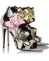 Pierre Hardy Lily Printed Leather And Suede Sandals - Lyst